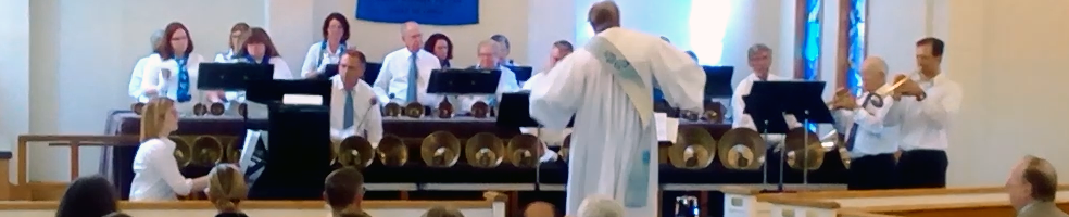 "Grace UMC Parish Bell Choir playing ""The Music of the Spheres""."